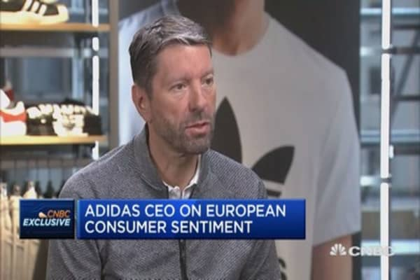Adidas CEO says terrorism and other major events are affecting European consumers.