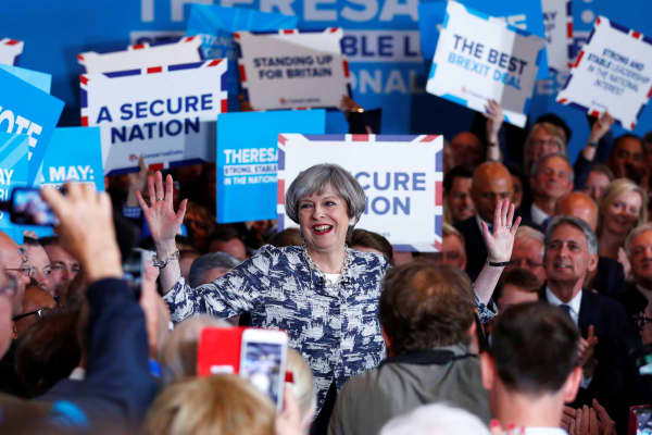 Britain's Prime Minister Theresa May speaks at an election campaign event in Solihull, June 7, 2017.