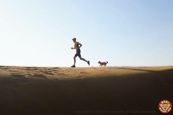 Dion and Gobi running in desert.
