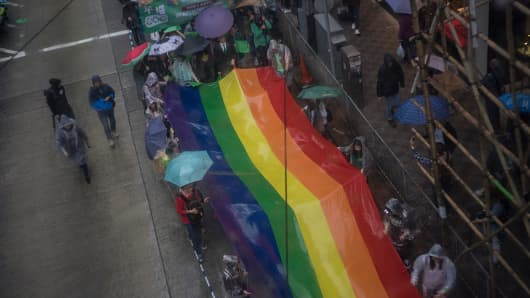 Thousands of people take part in a pride parade in support of the LGBT community in Hong Kong in 2016.