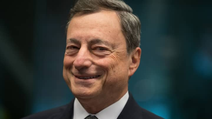 Mario Draghi, president of the European Central Bank (ECB), reacts ahead of a Eurogroup meeting of European finance ministers in Brussels, Belgium, on Monday, May 22, 2017.