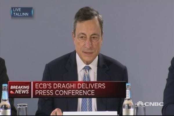 Risks to growth outlook 'broadly balanced': ECB's Draghi