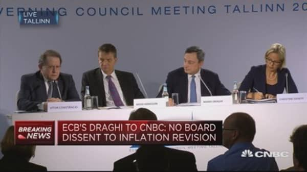 No dissenting voice from governing council on forward guidance: ECB's Draghi