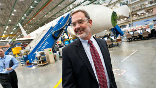 Mike Sinnett on the Boeing factory floor in Everett, Washington in 2011.