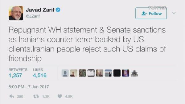 Iran minister calls Trump's condolences for attacks 'repugnant'