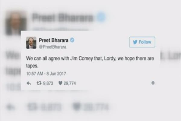Preet Bharara, Trump's sons tweet up a storm during Comey hearing