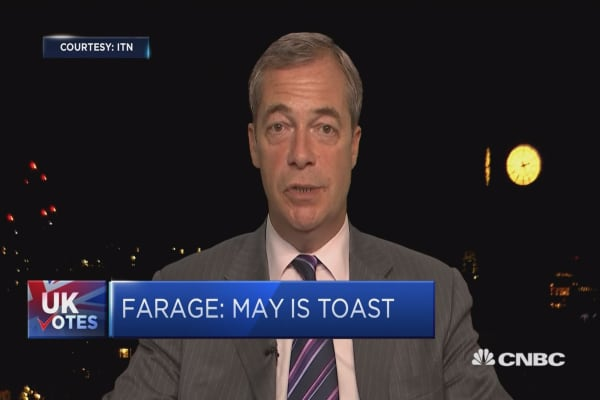 Theresa May is 'toast' says Nigel Farage