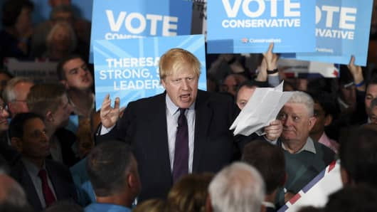 British Foreign Secretary Boris Johnson speaks ahead of Prime Minister Theresa May during her last campaign visit at the National Conference Centre on June 7, 2017 in Solihull, United Kingdom.