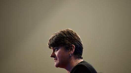 DUP leader Arlene Foster gives her thoughts on the general election during a television interview at the Belfast count centre on June 9, 2017 in Belfast, Northern Ireland.