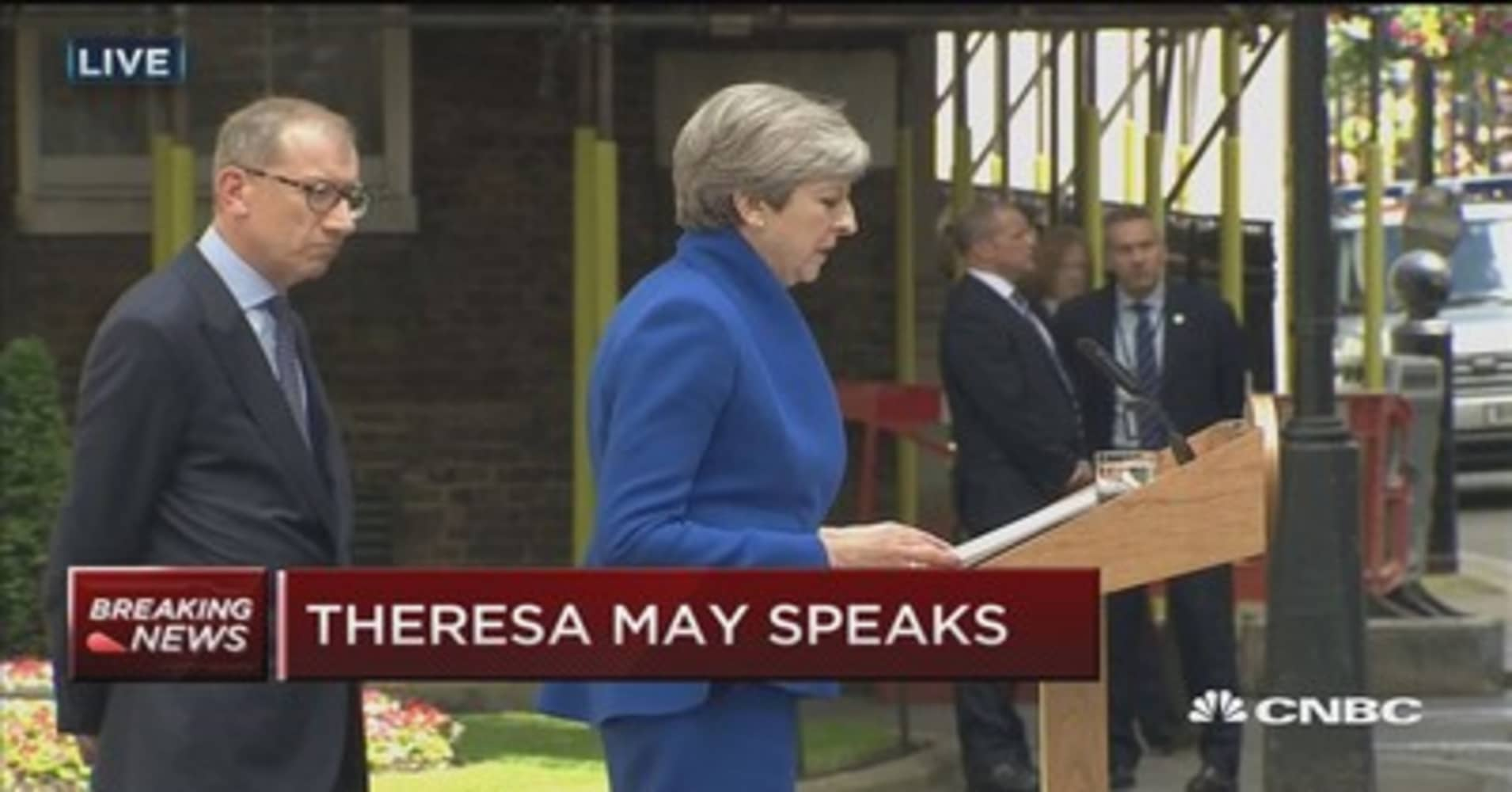UK leader May: I will form a government to provide certainty