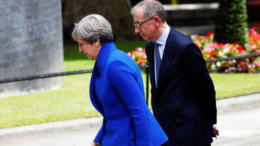 Britain's Prime Minister Theresa May returns to 10 Downing Street with her husband Philip after traveling to Buckingham Palace to ask the Queen's permission to form a minority government, in London, June 9, 2017.
