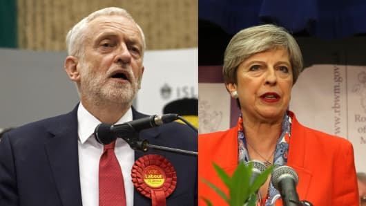 Labour party leader Jeremy Corbyn   British Prime Minister Theresa May