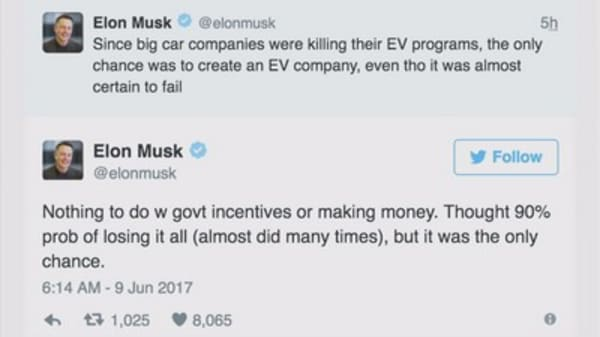Elon Musk: We started Tesla after big auto companies tried to 'kill' the electric car
