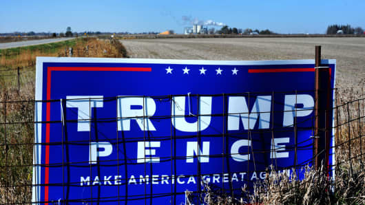 A Trump sign in Dexter, Iowa.