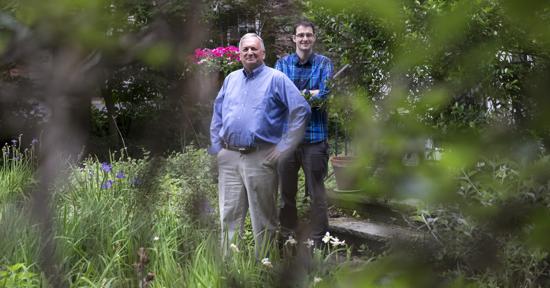 Paul B. Brown and his son Samuel Viscomi in Glen Rock, N.J., June 8, 2017. Brown and his wife have started giving their four adult children their inheritance, which they believe is more useful to their children now than it will be later on.