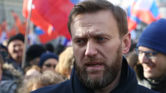 Russian opposition leader Alexei Navalny attends a mass march marking the one-year anniversary of the killing of opposition leader Boris Nemtsov on February 27, 2016 in Moscow, Russia.