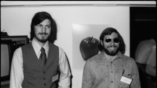 Steve Jobs and Steve Wozniak, co-founders of Apple, in 1977.