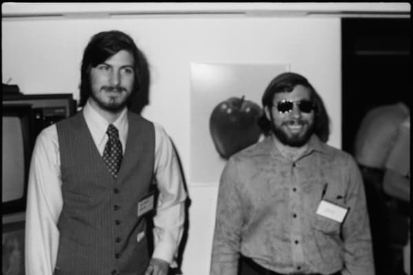 Steve Jobs and Steve Wozniak, co-founders of Apple, in 1977.