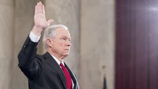 Sen. Jeff Sessions, R-Ala., is sworn in before testifying during the Senate Judiciary Committee hearing on his confirmation hearing to be Attorney General in the Trump administration on Tuesday, Jan. 10, 2017.