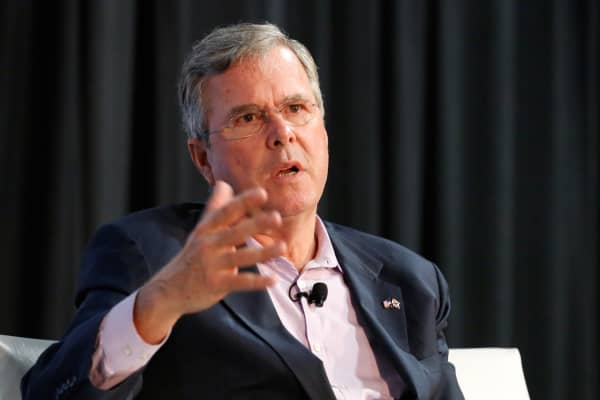 Jeb Bush, former Governor of Florida, speaking at eMerge Americas tech conference in Miami on June 12, 2017.