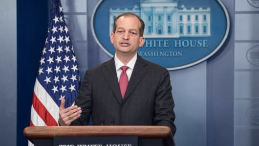 US Labor Secretary Alexander Acosta speaks during the briefing at the White House in Washington, DC, on June 12, 2017.