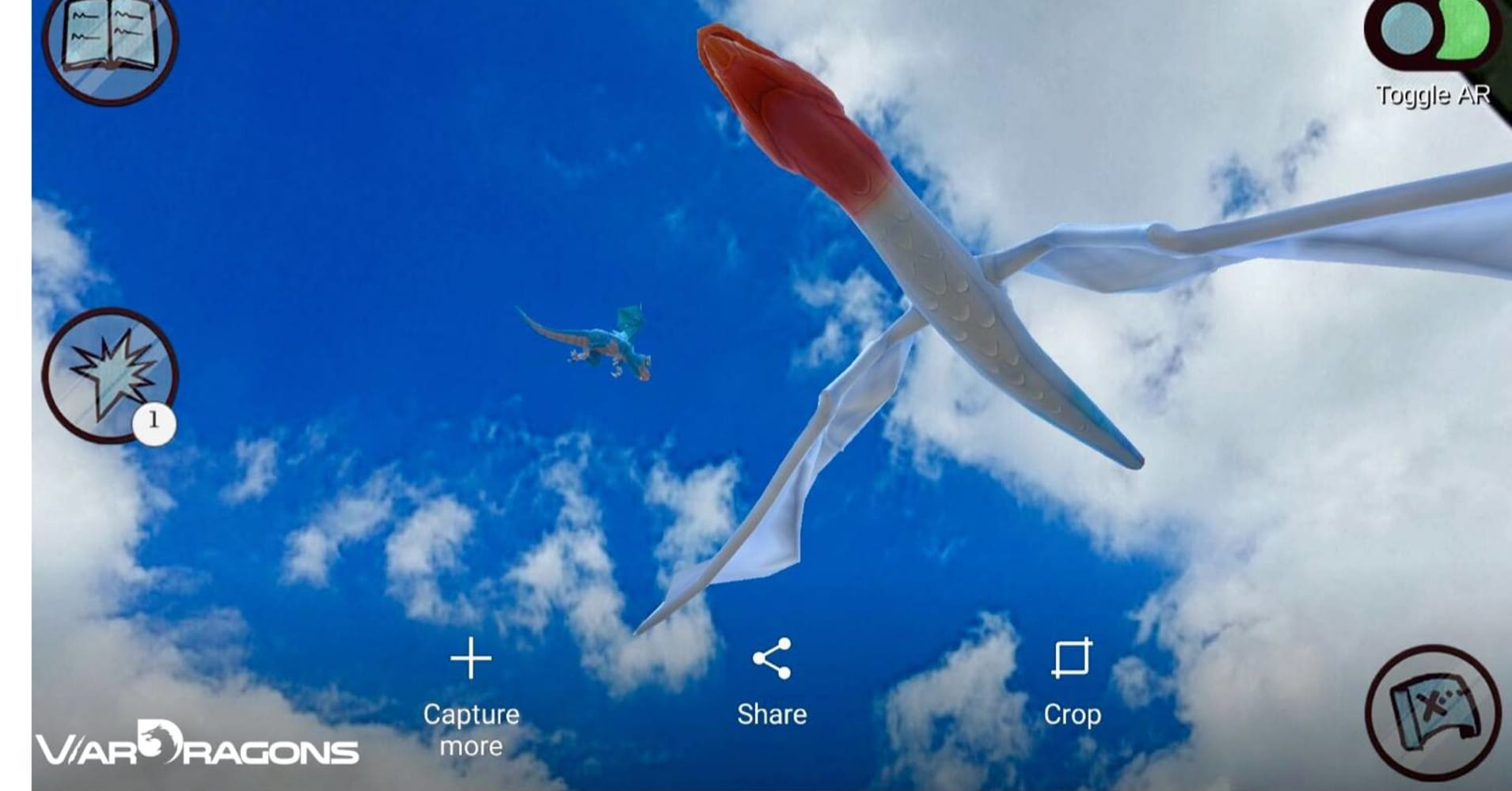 An augmented reality overlay showing a Norwegian Air flight as a dragon.