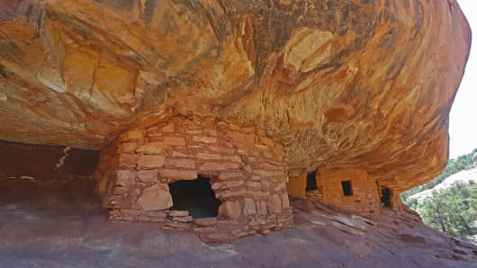 Ancient granaries, part of the House on Fire ruins are shown here in the South Fork of Mule Canyon in the Bears Ears National Monument on May 12, 2017 outside Blanding, Utah.