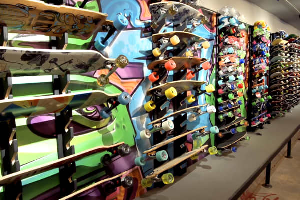 Skateboards line the walls at the newly renovated W82 boardshop that Lemonis poured $400,000 into.