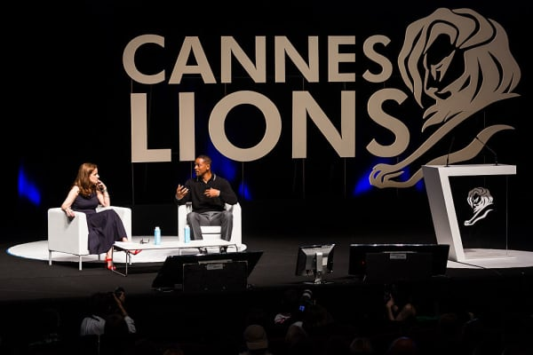 Actor Will Smith talks to Edelman chair Jackie Cooper at Cannes Lions 2016