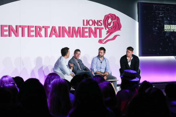 Channing Tatum (far right), discusses his vodka brand at Cannes Lions in June 2016