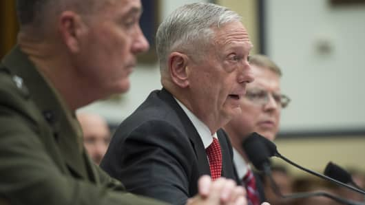 US Secretary of Defense James Mattis (C) and Chairman of the Joint Chiefs of Staff General Joseph Dunford, Jr., (L), testify during a US House Armed Services Committee hearing on the Fiscal Year 2018 budget on Capitol Hill in Washington, DC, June 12, 2017.