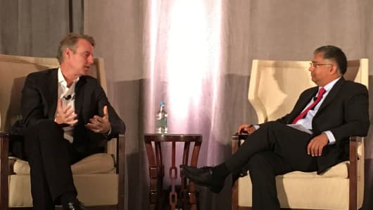 Google's president of the Americas Allan Thygesen speaking to Rutberg's Rajeev Chand at a Rutberg conference in Half Moon Bay, California.