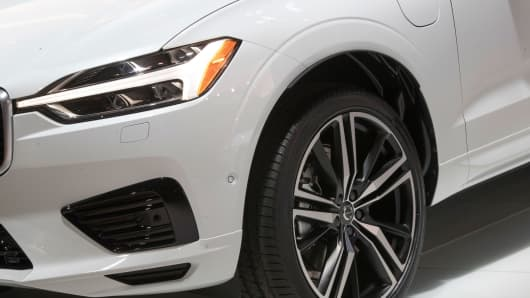 This April 12, 2017, file photo shows a detail of the Volvo XC60 while on display during a media preview at the New York International Auto Show, at the Jacob Javits Center in New York.