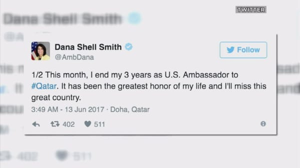 The US ambassador to Qatar is leaving her post in the middle of a Persian Gulf crisis