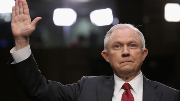 Attorney General Jeff Sessions is sworn-in prior to testifying before the Senate Intelligence Committee on June 13, 2017 in Washington, DC.