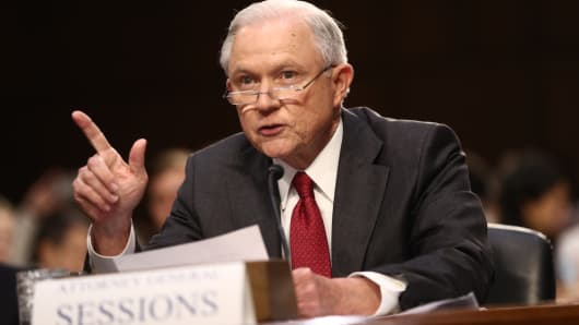 Jeff Sessions, U.S. attorney general, speaks during a Senate Intelligence Committee hearing with U.S. Attorney General Jeff Sessions in Washington, D.C., U.S., on Tuesday, June 13, 2017.