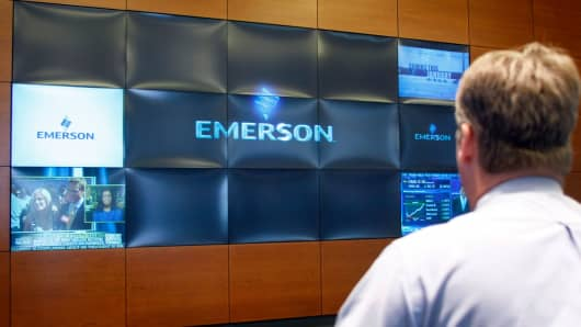 A visitor views the video wall in the lobby of Emerson Electric's headquarters building in St. Louis.