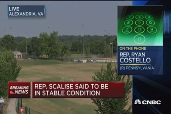 Rep. Scalise, aids shot at baseball practice field