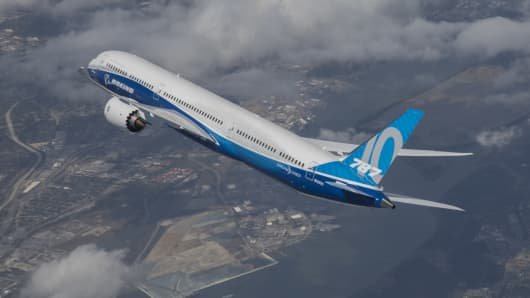 A Boeing 787 Dreamliner in flight.