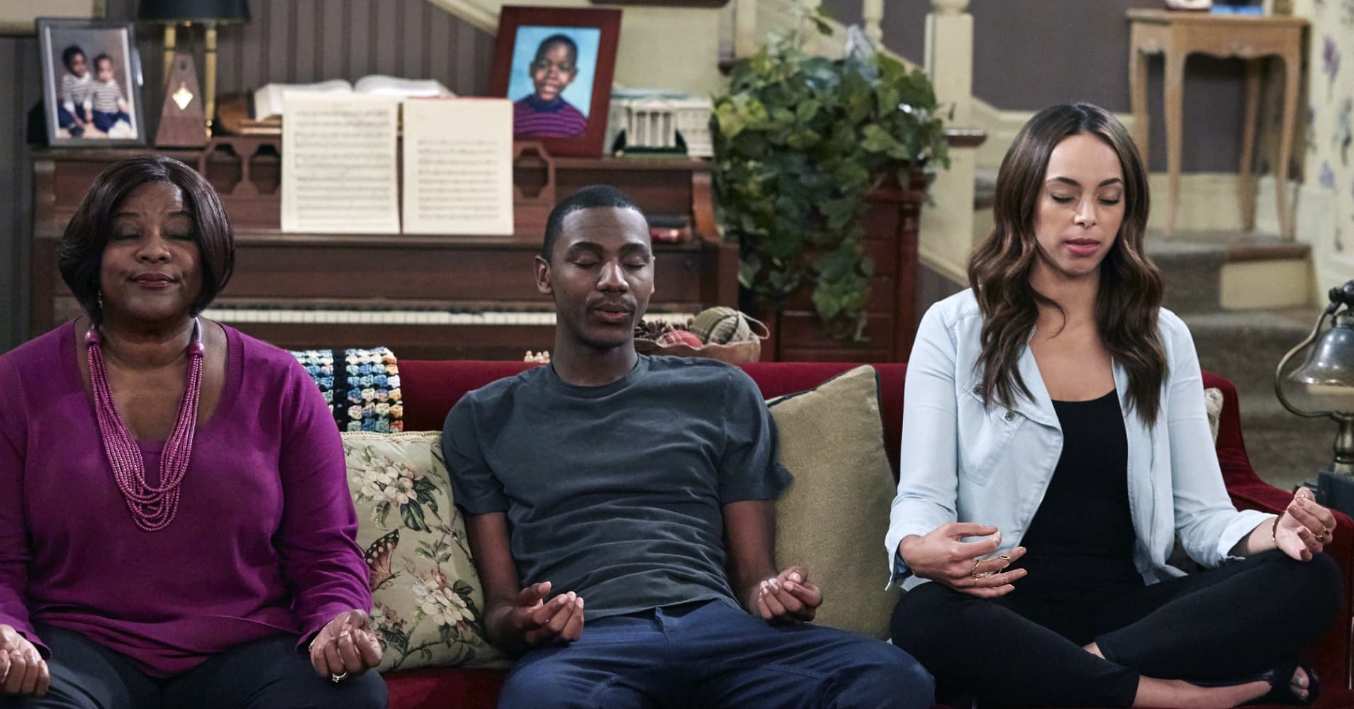 Loretta Devine as Cynthia Carmichael, Jerrod Carmichael as Jerrod, Amber Stevens West as Maxine North on NBC's 'The Carmichael Show .'