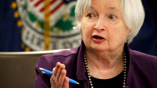 Federal Reserve Board Chairwoman Janet Yellen speaks during a news conference after the Fed releases its monetary policy decisions in Washington, June 14, 2017.
