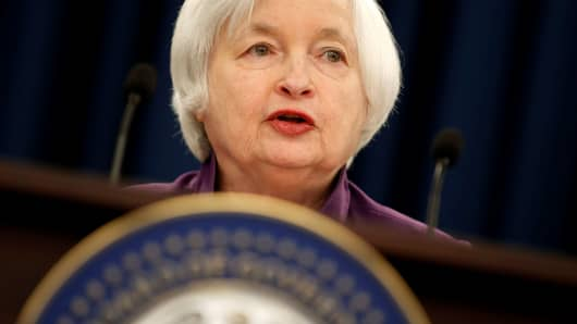 Federal Reserve Board Chairwoman Janet Yellen speak during a news conference after the Fed releases its monetary policy decisions in Washington, U.S., June 14, 2017.