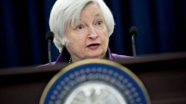Janet Yellen, chair of the U.S. Federal Reserve, speaks during a news conference following a Federal Open Market Committee (FOMC) meeting in Washington, D.C., U.S., on Wednesday, June 14, 2017.