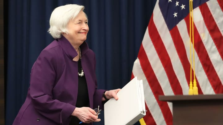 Federal Reserve Board Chairwoman Janet Yellen arrives at a news conference following a meeting of the Federal Open Market Committee June 14, 2017 in Washington, DC.