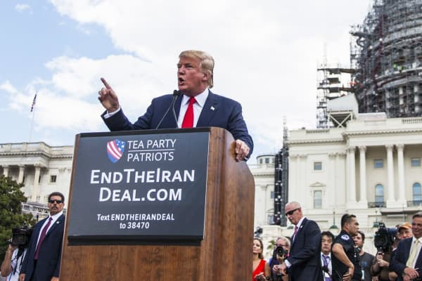 Then-candidate for the Republican Presidential nomination Donald Trump speaks during a rally held by the Tea Party at the United States Capitol to speak out against President Obama's nuclear agreement with Iran in Washington, on September 9, 2015.