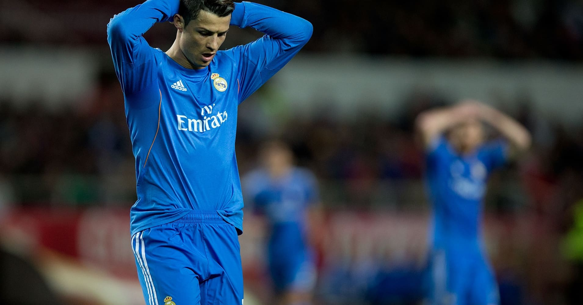 Cristiano Ronaldo of Real Madrid CF reacts as he fail to score during the La Liga match between Sevilla FC and Real Madrid CF at Estadio Ramon Sanchez Pizjuan on March 26, 2014 in Seville, Spain.