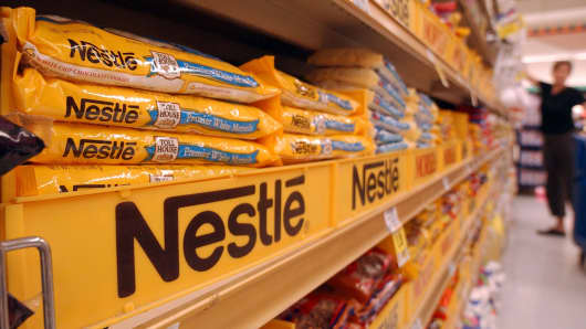 Nestle chocolate products are displayed on the shelves of a Kroger supermarket in Decatur, Georgia.