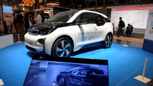 A car equiped with an intelligent parking solution system, the Cyber Valet Services developed by Cisco and Valeo, is pictured at the Viva Technology event, on June 15, 2017 in Paris.