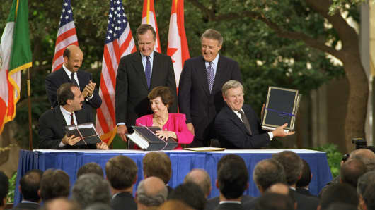 Leaders of Mexico, the U.S., and Canada during NAFTA treaty signing in San Antonio, Texas, Oct. 7, 1992. Pact didn't formally go into effect until 1994.