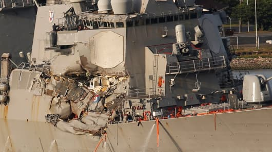 Image result for Missing sailors found dead in flooded compartments on US Navy destroyer